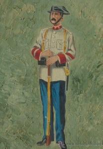 Guardia Civil. Uniforme de servicio en verano. 1907. Óleo sobre tabla.